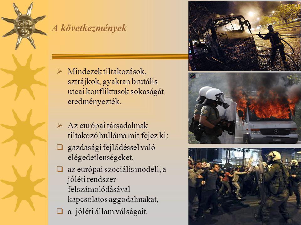 A következmények Mindezek tiltakozások, sztrájkok, gyakran brutális utcai konfliktusok sokaságát eredményezték.