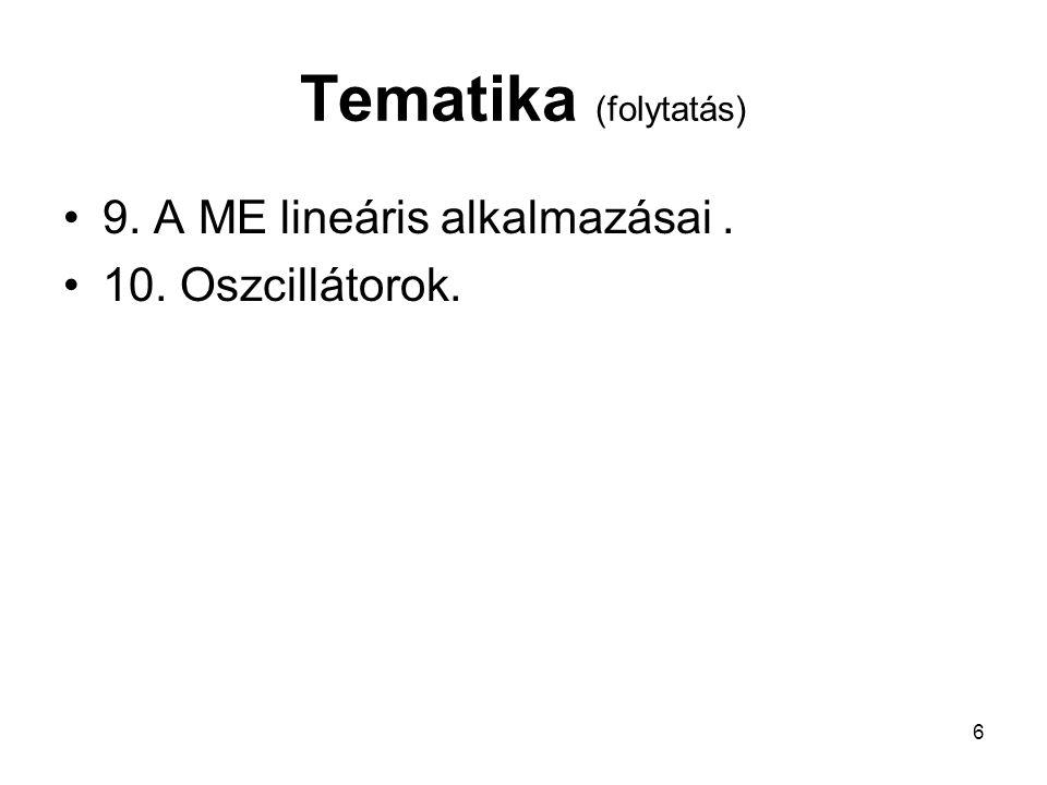 Tematika (folytatás) 9. A ME lineáris alkalmazásai .