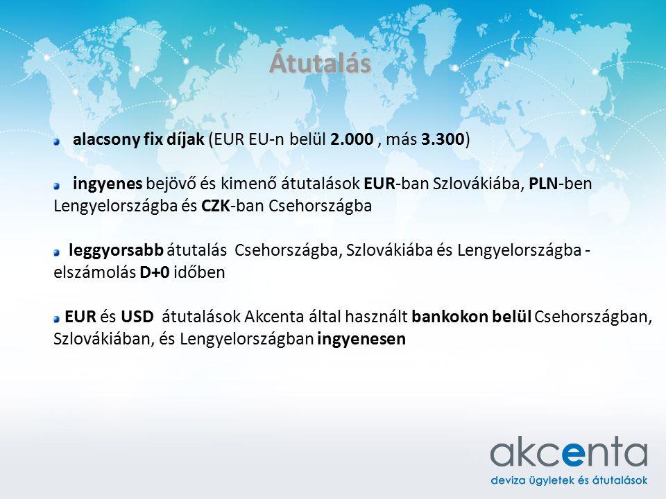 Átutalás alacsony fix díjak (EUR EU-n belül 2.000 , más 3.300)