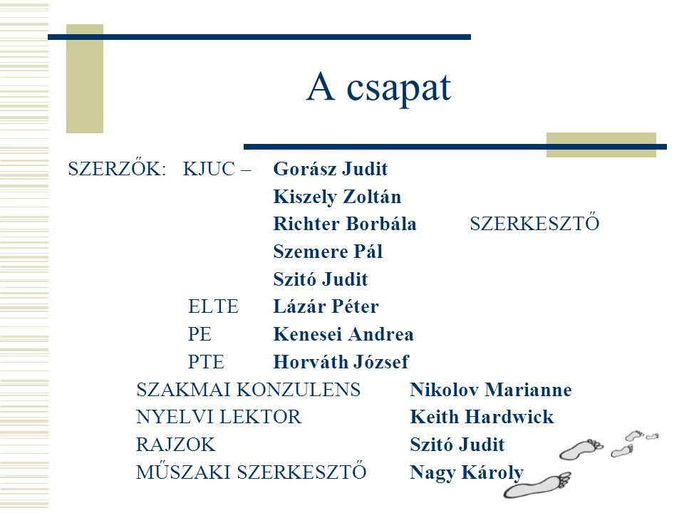 A csapat SZERZŐK: KJUC – Gorász Judit Kiszely Zoltán