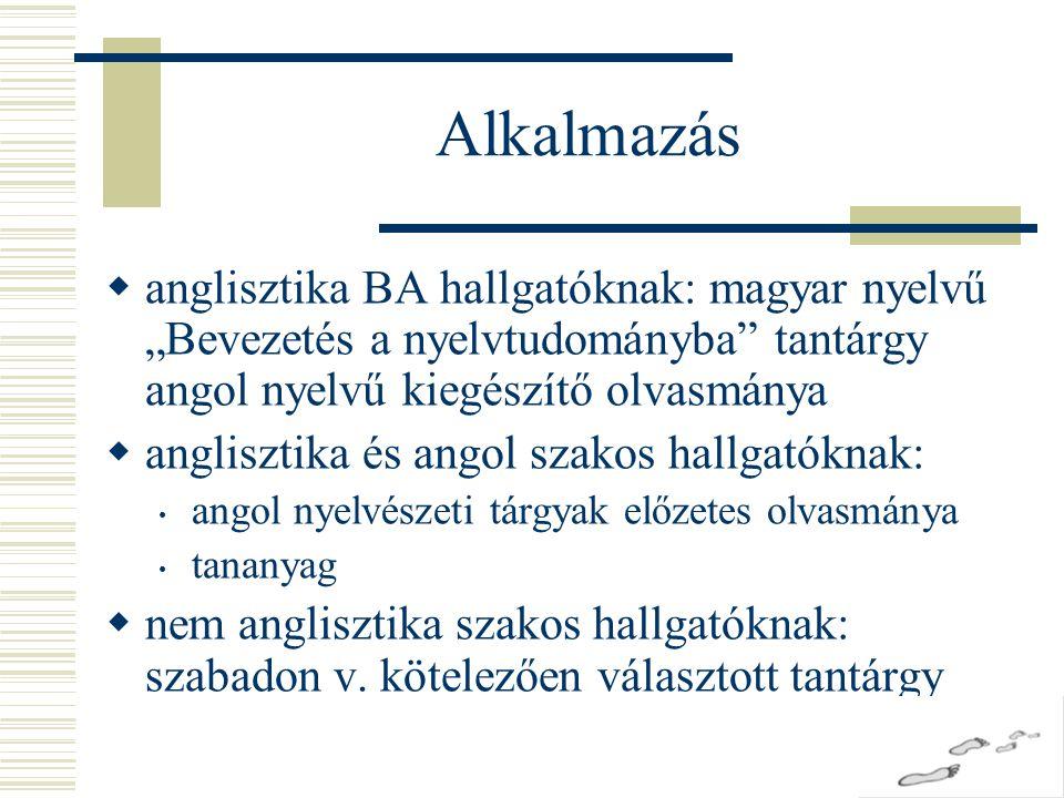 """Alkalmazás anglisztika BA hallgatóknak: magyar nyelvű """"Bevezetés a nyelvtudományba tantárgy angol nyelvű kiegészítő olvasmánya."""