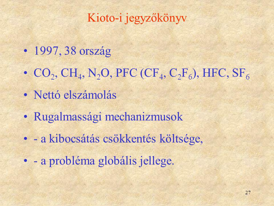 Kioto-i jegyzőkönyv 1997, 38 ország. CO2, CH4, N2O, PFC (CF4, C2F6), HFC, SF6. Nettó elszámolás. Rugalmassági mechanizmusok.