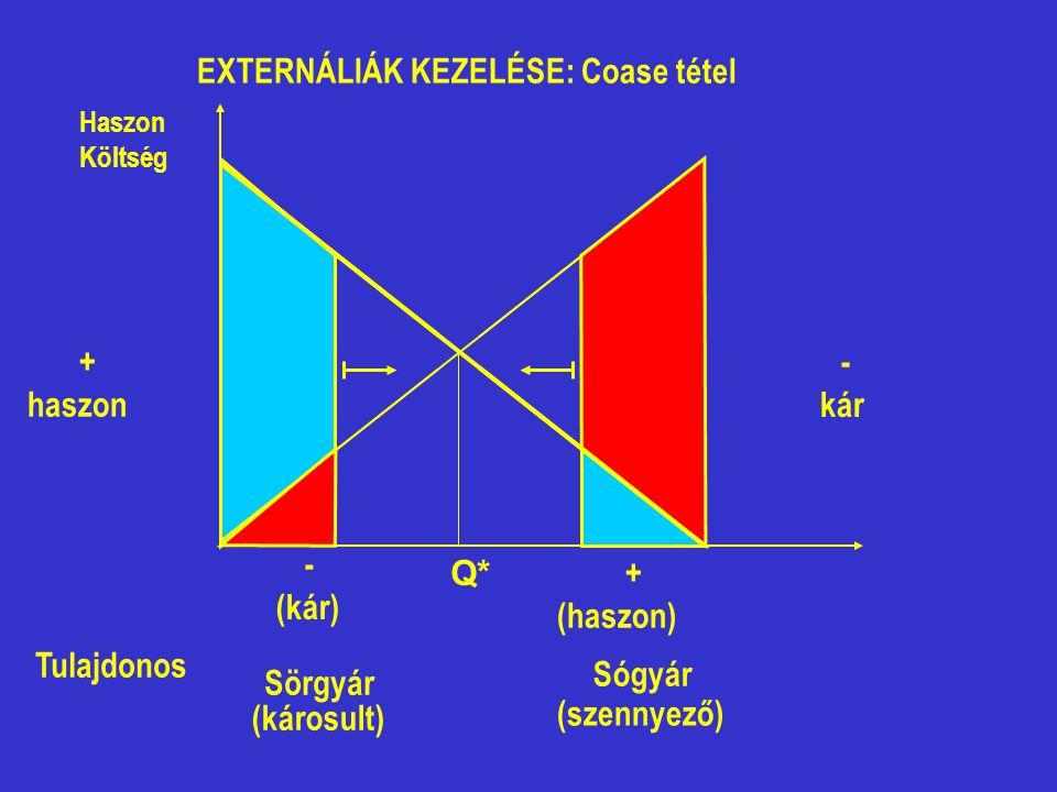EXTERNÁLIÁK KEZELÉSE: Coase tétel