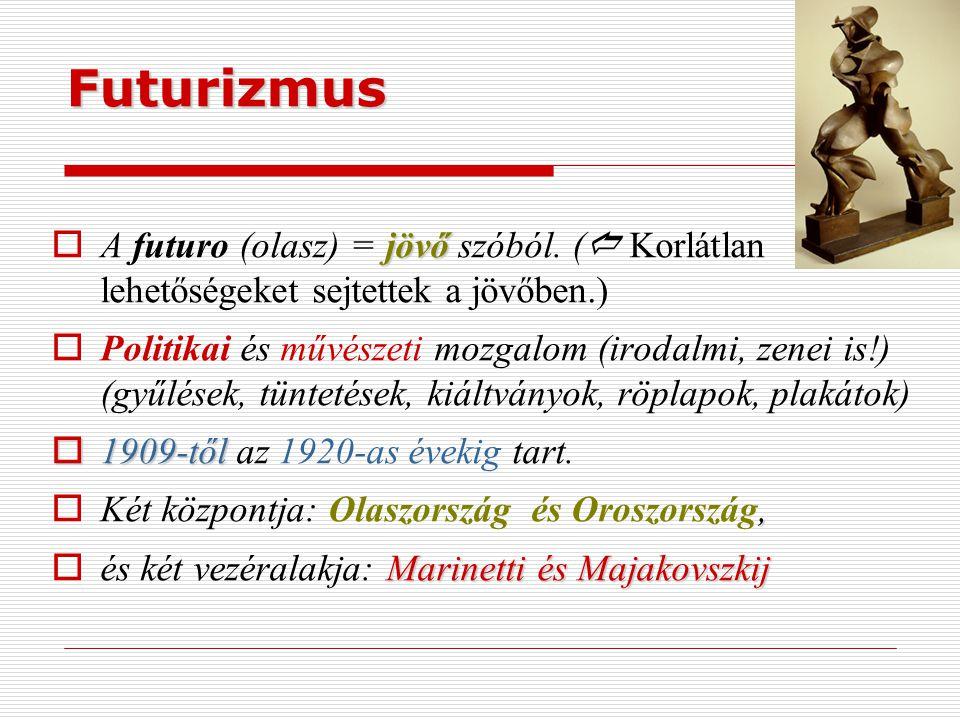 Futurizmus A futuro (olasz) = jövő szóból. ( Korlátlan lehetőségeket sejtettek a jövőben.)