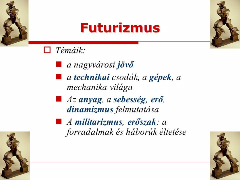 Futurizmus Témáik: a nagyvárosi jövő