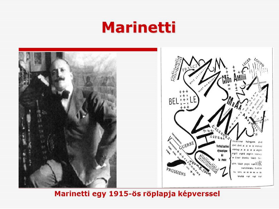Marinetti egy 1915-ös röplapja képverssel
