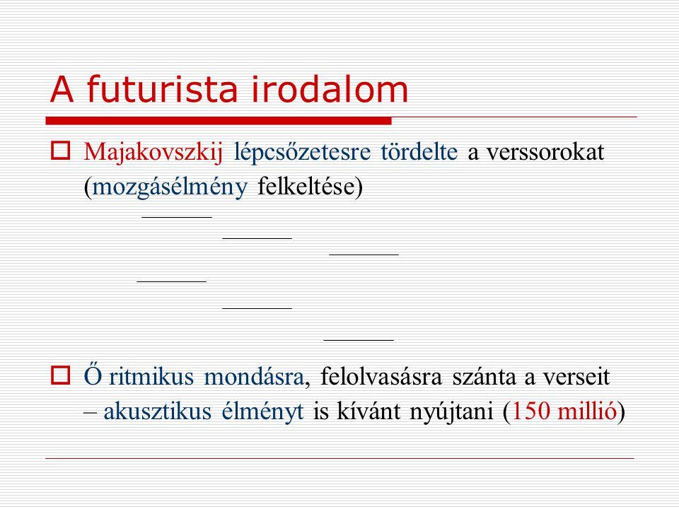 A futurista irodalom Majakovszkij lépcsőzetesre tördelte a verssorokat (mozgásélmény felkeltése)