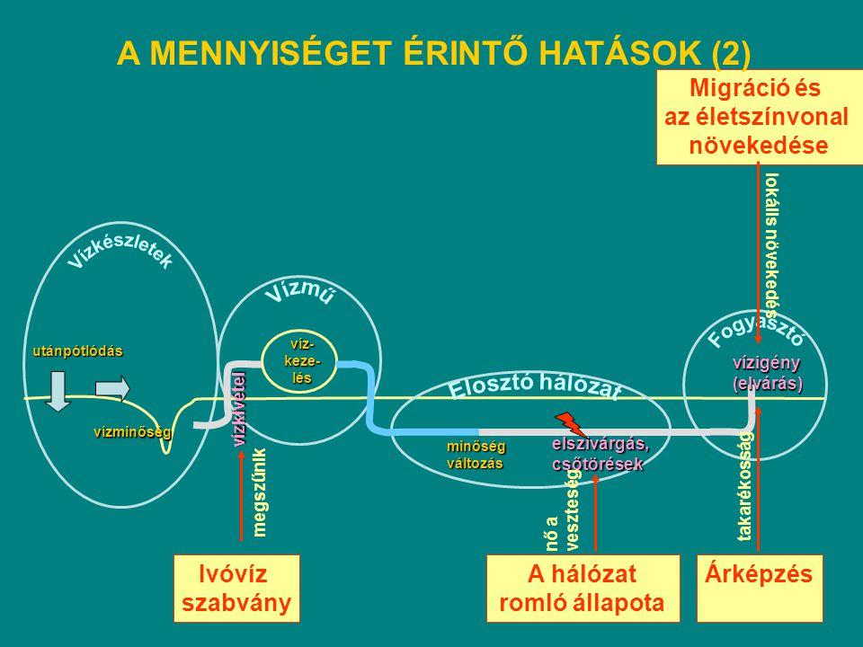 Vízkészletek A MENNYISÉGET ÉRINTŐ HATÁSOK (2) Migráció és