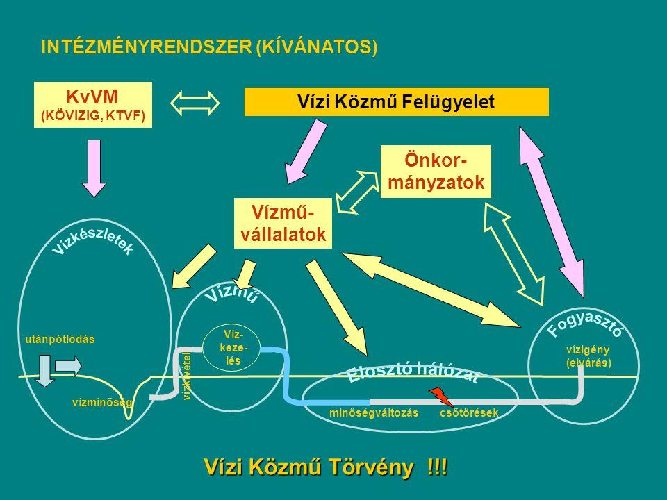 Vízkészletek Vízi Közmű Törvény !!! INTÉZMÉNYRENDSZER (KÍVÁNATOS) KvVM