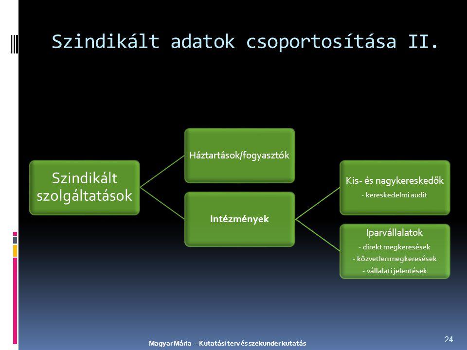 Szindikált adatok csoportosítása II.