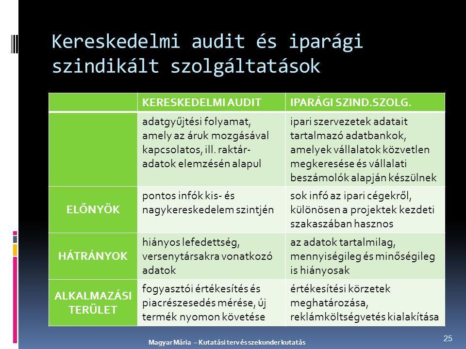 Kereskedelmi audit és iparági szindikált szolgáltatások