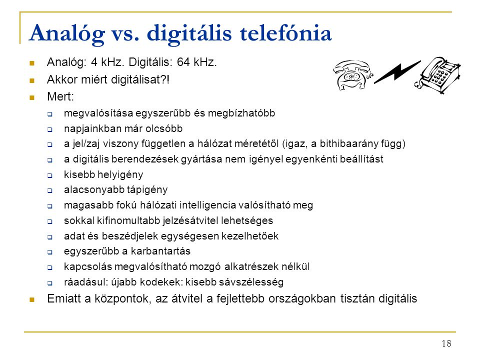 Analóg vs. digitális telefónia