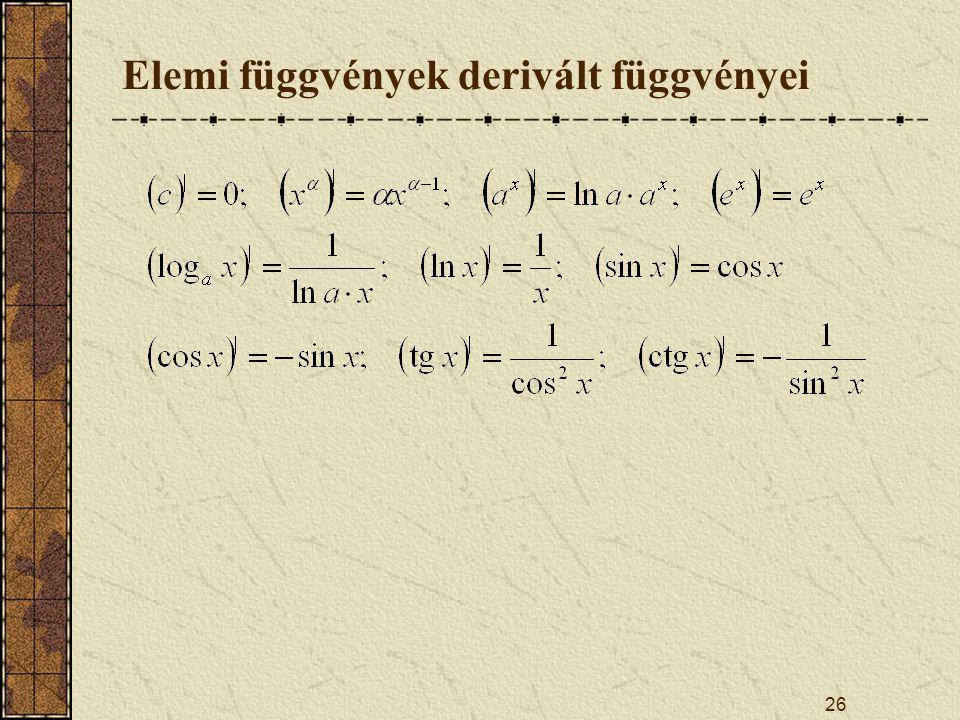 Elemi függvények derivált függvényei