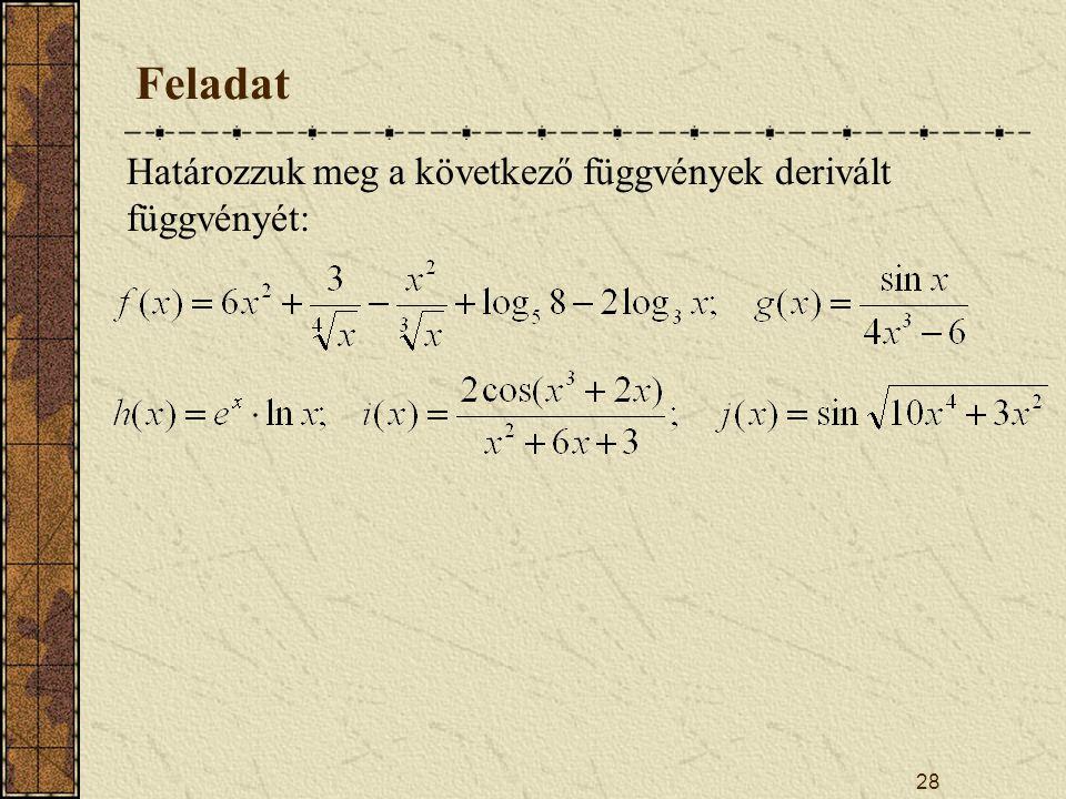 Feladat Határozzuk meg a következő függvények derivált függvényét: