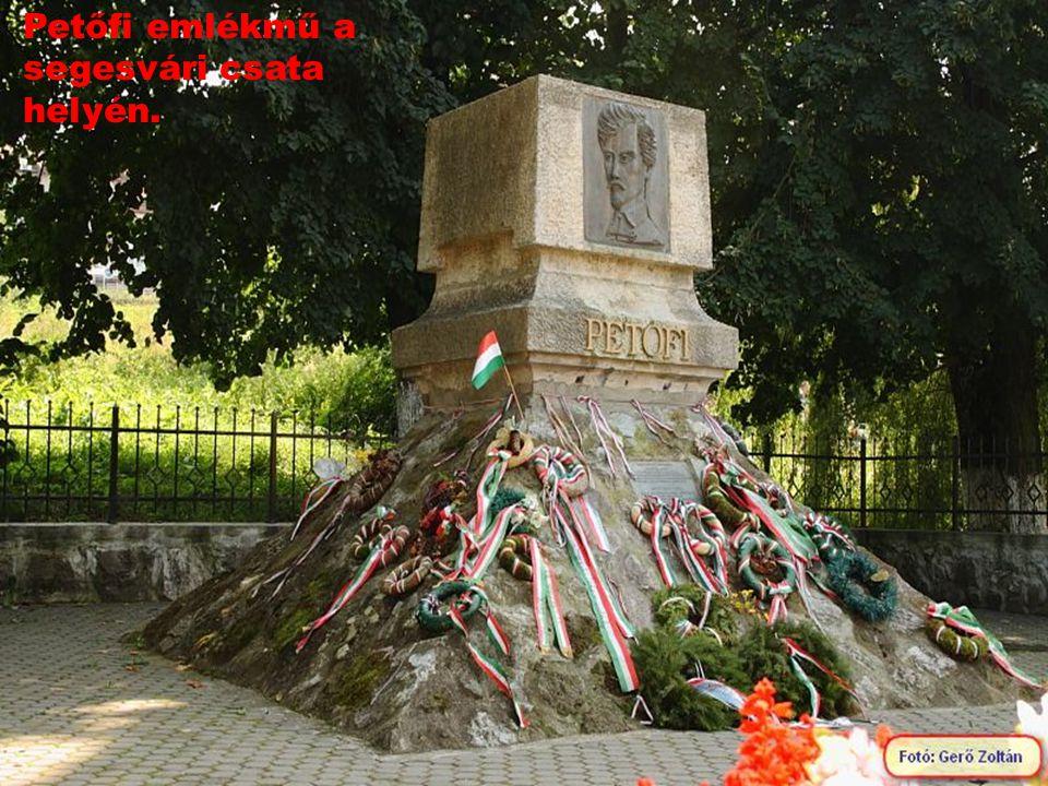 Petőfi emlékmű a segesvári csata helyén.