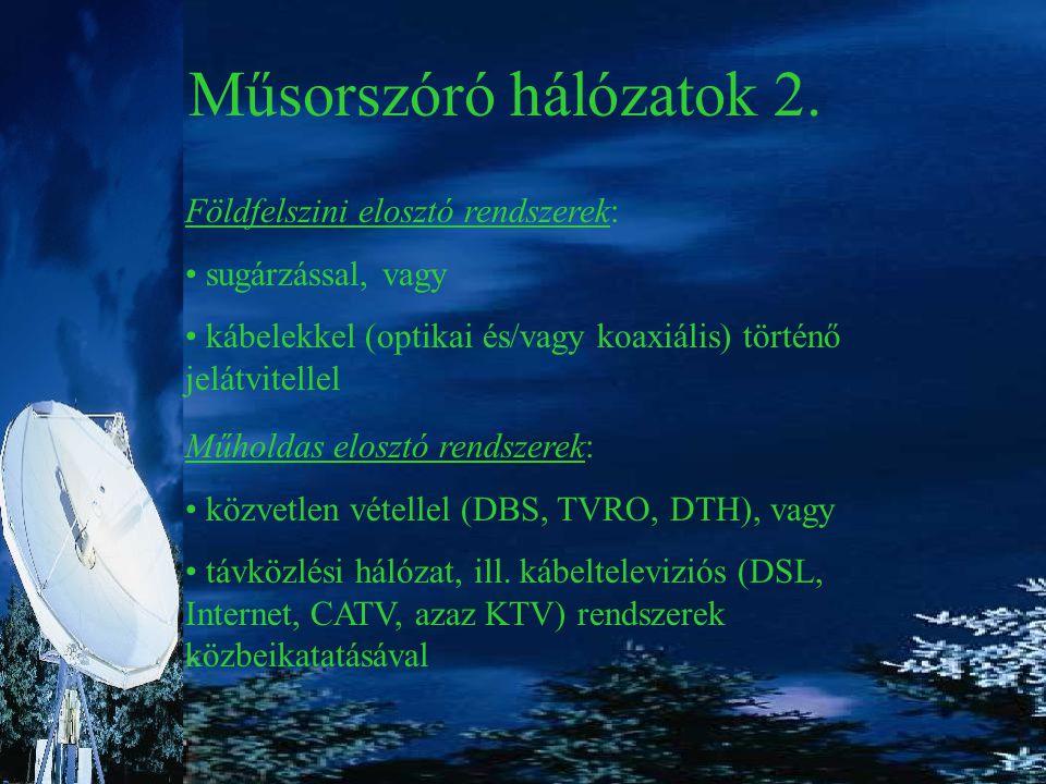 Műsorszóró hálózatok 2. Földfelszini elosztó rendszerek: