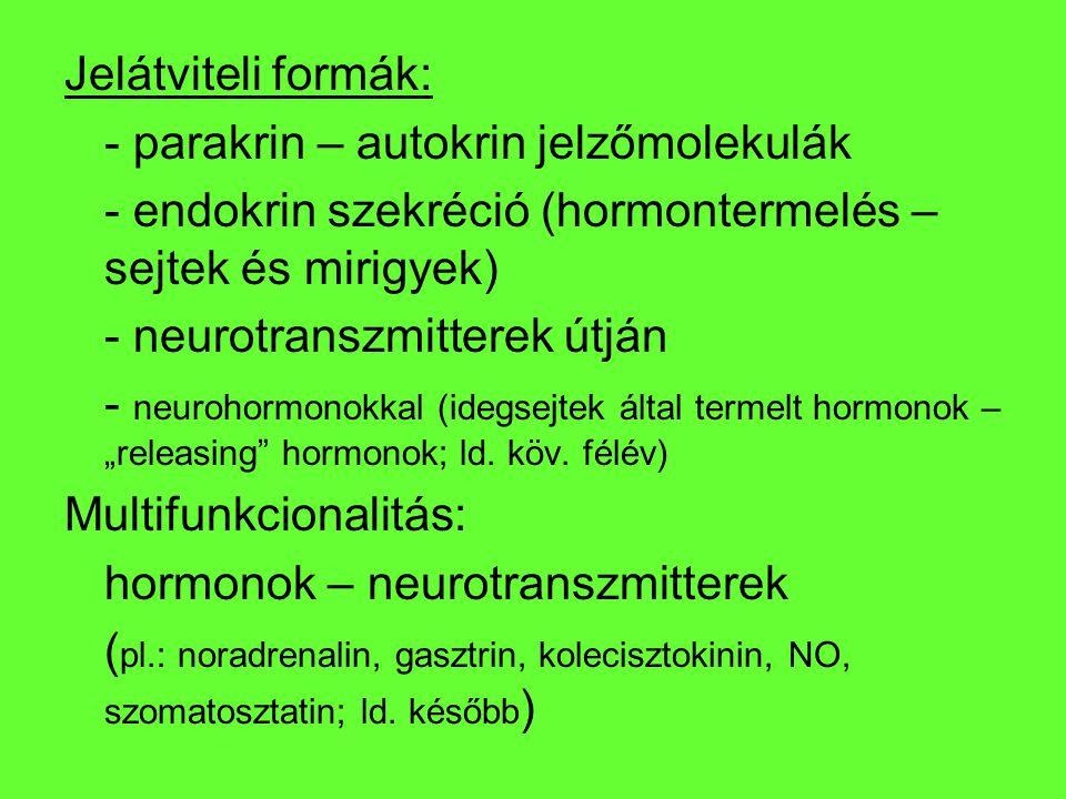 Jelátviteli formák: - parakrin – autokrin jelzőmolekulák. - endokrin szekréció (hormontermelés – sejtek és mirigyek)
