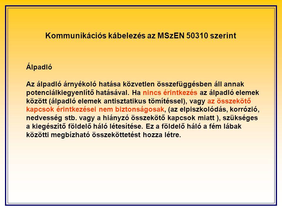 Kommunikációs kábelezés az MSzEN 50310 szerint