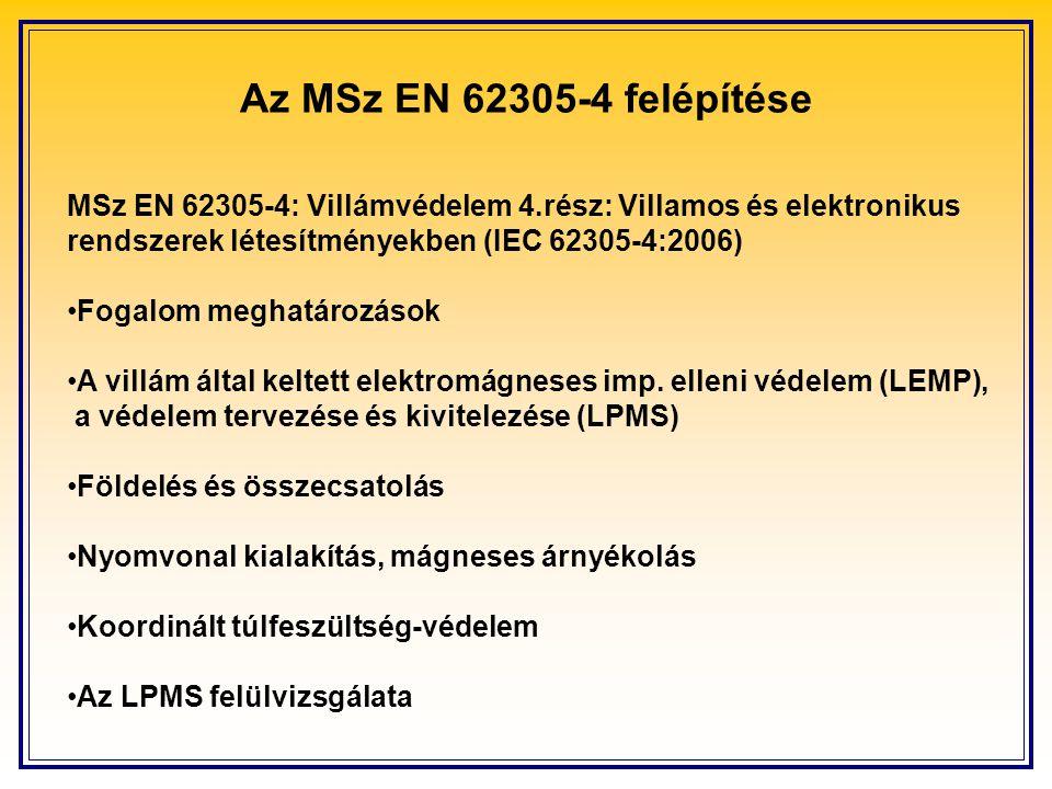 Az MSz EN 62305-4 felépítése MSz EN 62305-4: Villámvédelem 4.rész: Villamos és elektronikus rendszerek létesítményekben (IEC 62305-4:2006)