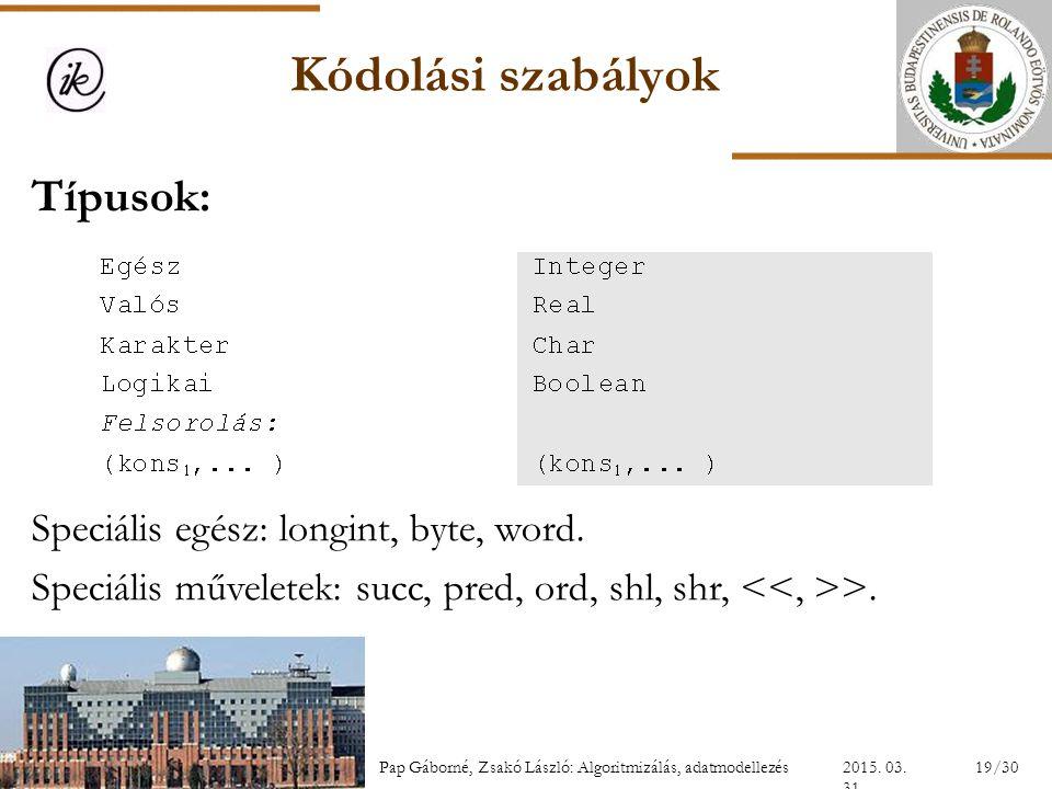 Kódolási szabályok Típusok: Speciális egész: longint, byte, word.