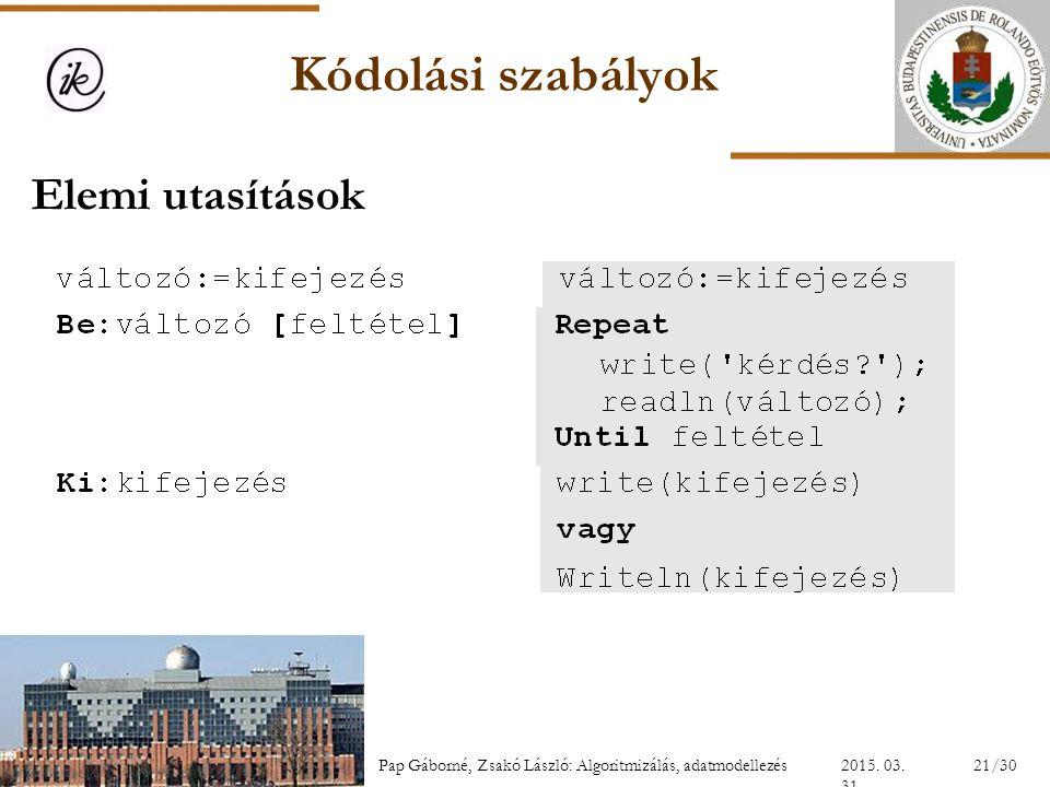 Kódolási szabályok Elemi utasítások INFOÉRA 2006 2006.11.18