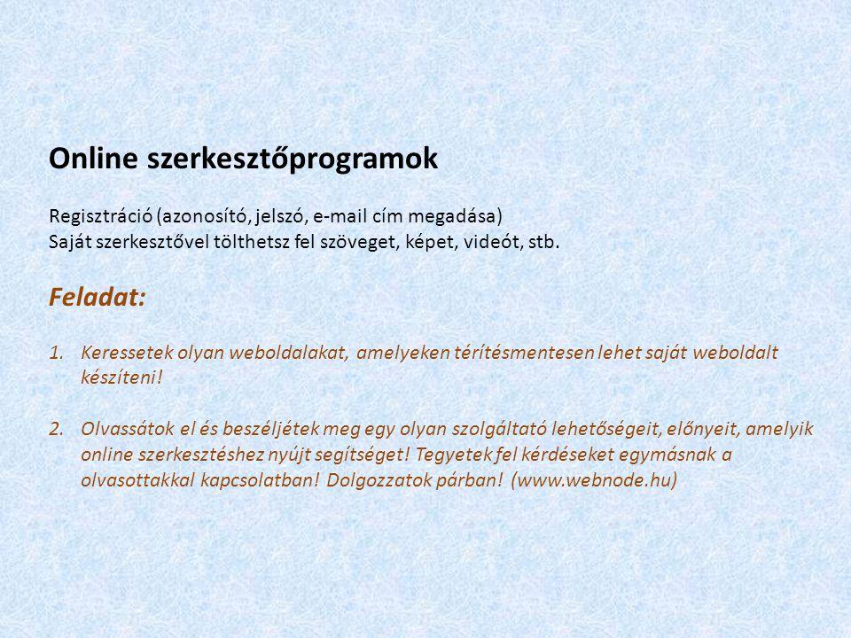 Online szerkesztőprogramok