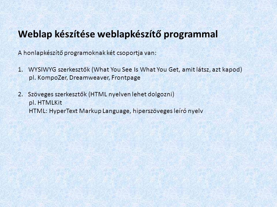 Weblap készítése weblapkészítő programmal