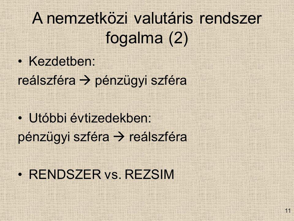 A nemzetközi valutáris rendszer fogalma (2)