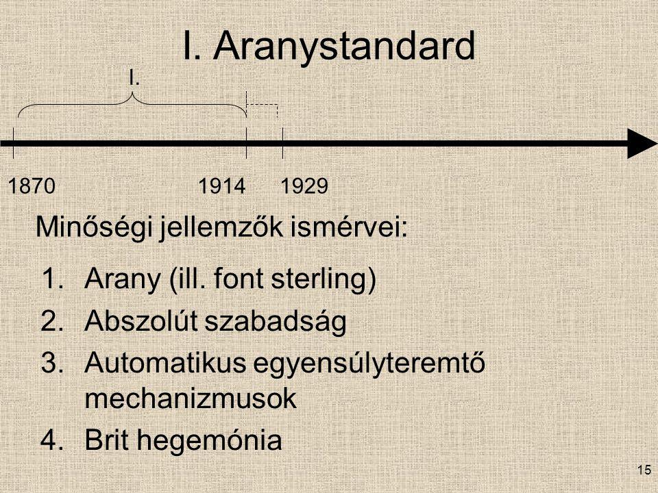 I. Aranystandard Minőségi jellemzők ismérvei: