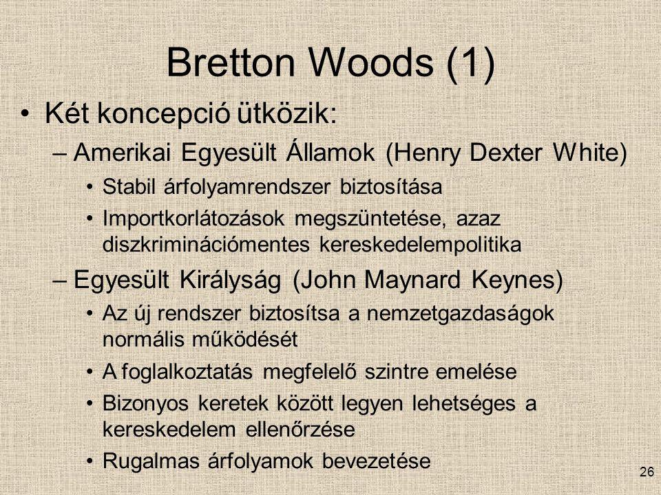 Bretton Woods (1) Két koncepció ütközik: