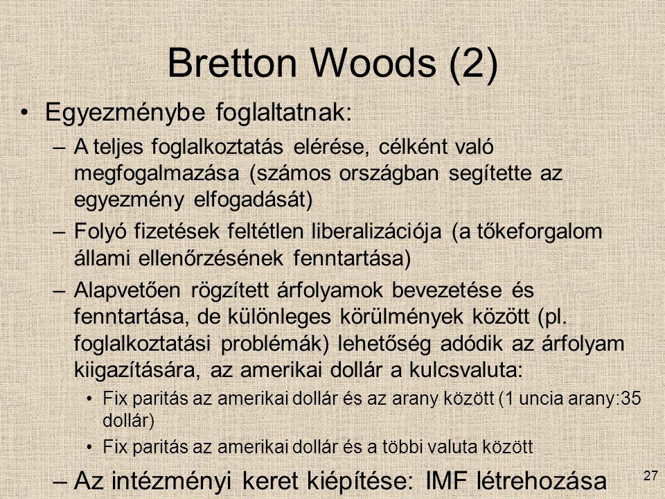 Bretton Woods (2) Egyezménybe foglaltatnak:
