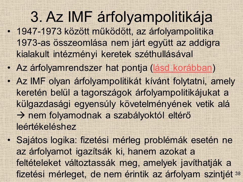 3. Az IMF árfolyampolitikája