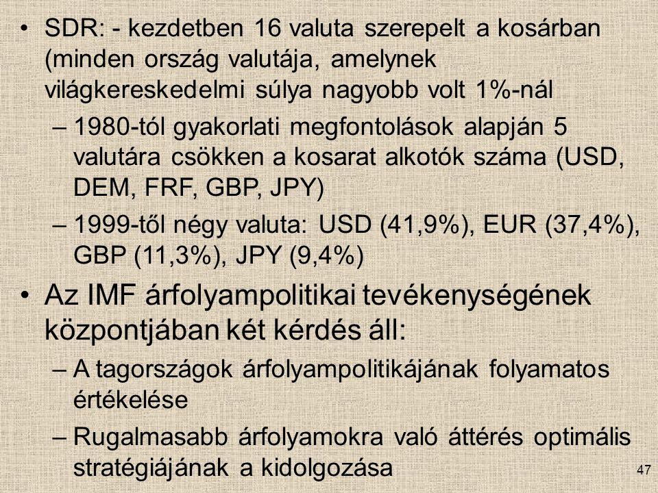 Az IMF árfolyampolitikai tevékenységének központjában két kérdés áll: