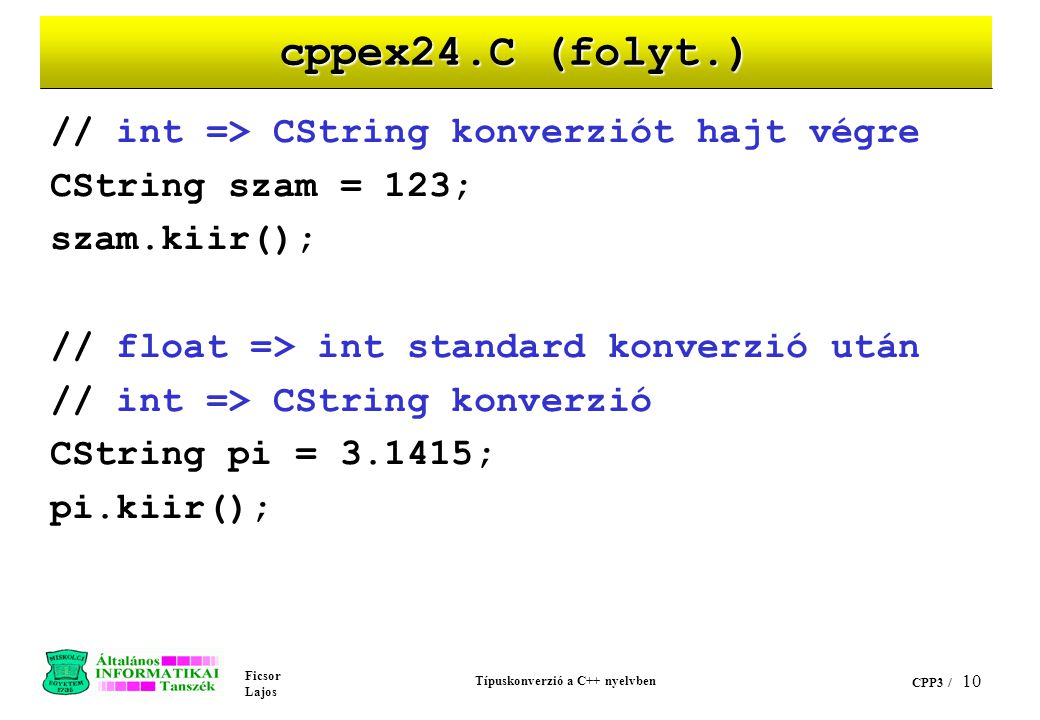 Típuskonverzió a C++ nyelvben