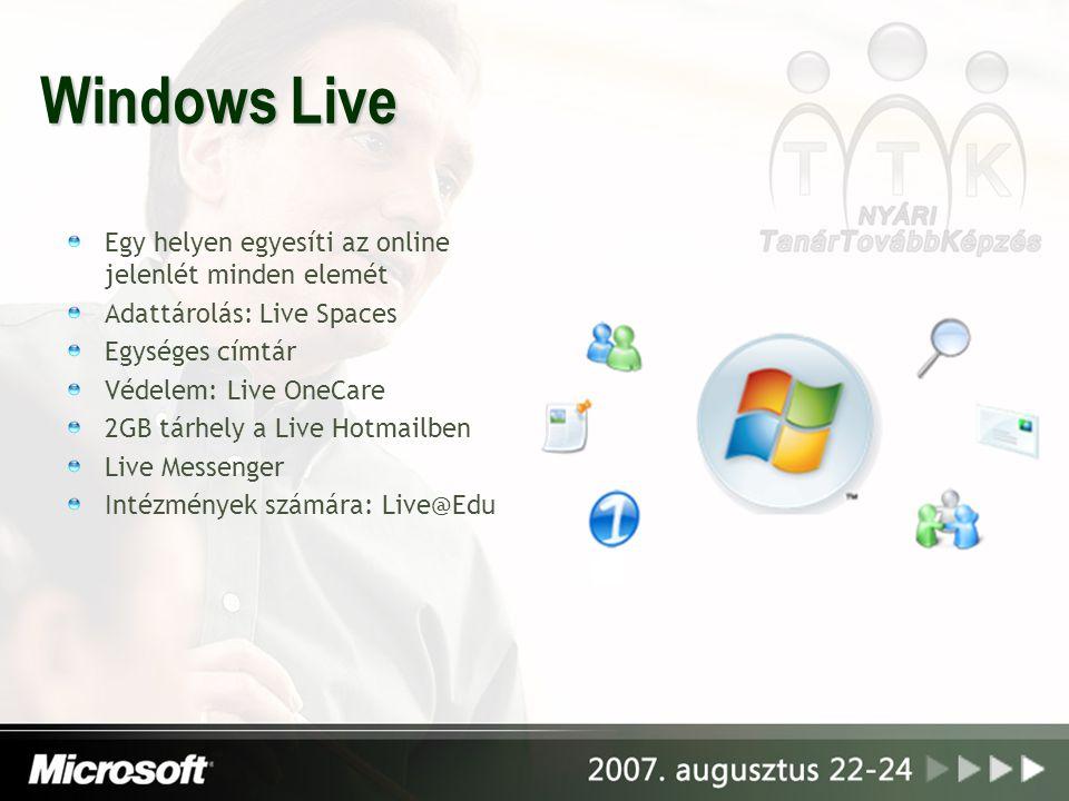 Windows Live Egy helyen egyesíti az online jelenlét minden elemét