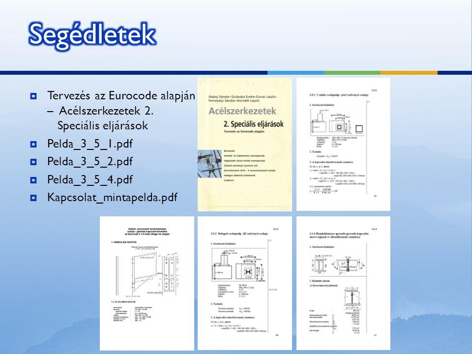 Segédletek Tervezés az Eurocode alapján – Acélszerkezetek 2. Speciális eljárások. Pelda_3_5_1.pdf.