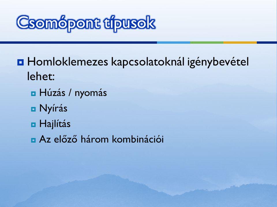 Csomópont típusok Homloklemezes kapcsolatoknál igénybevétel lehet: