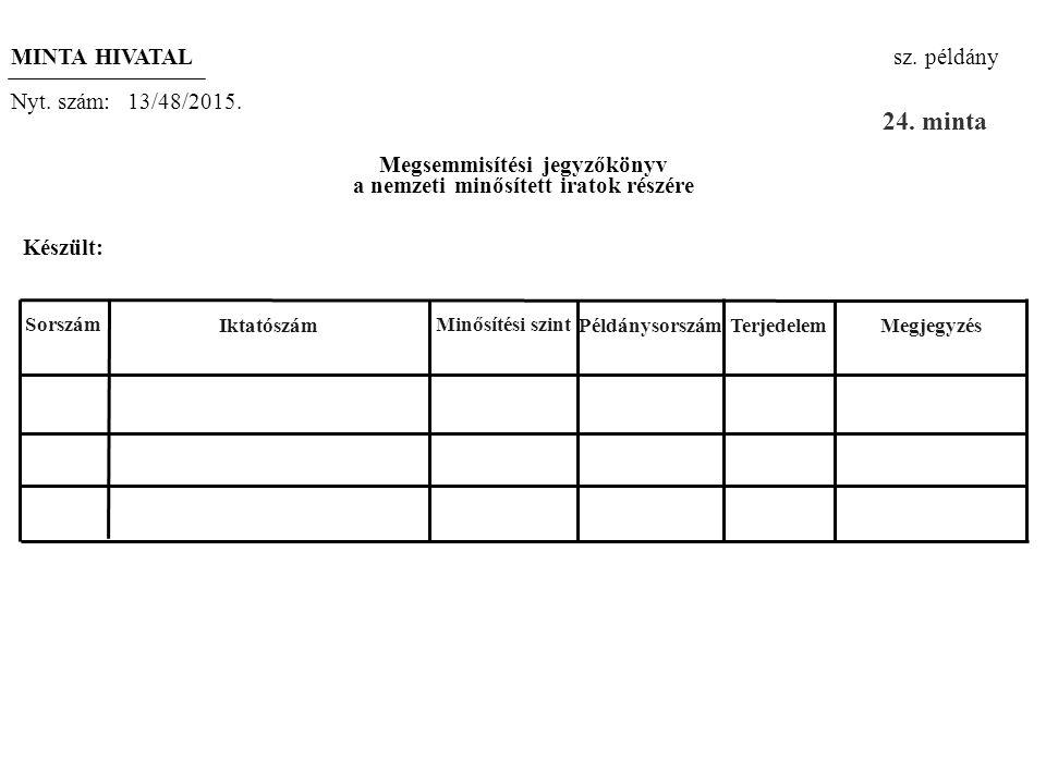 Megsemmisítési jegyzőkönyv a nemzeti minősített iratok részére