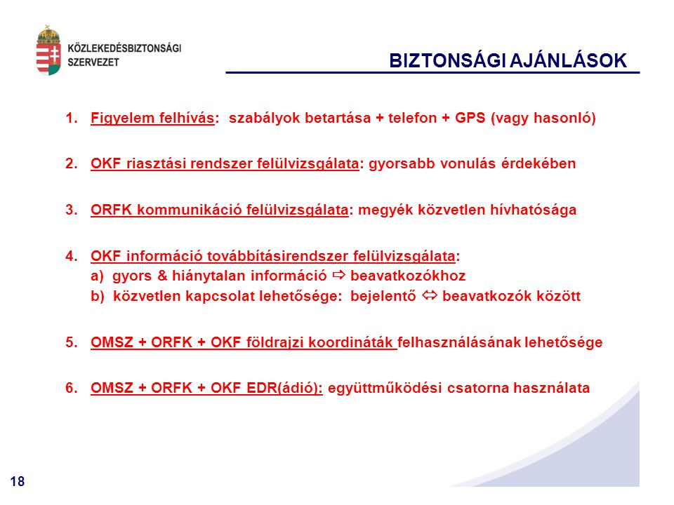 BIZTONSÁGI AJÁNLÁSOK Figyelem felhívás: szabályok betartása + telefon + GPS (vagy hasonló)