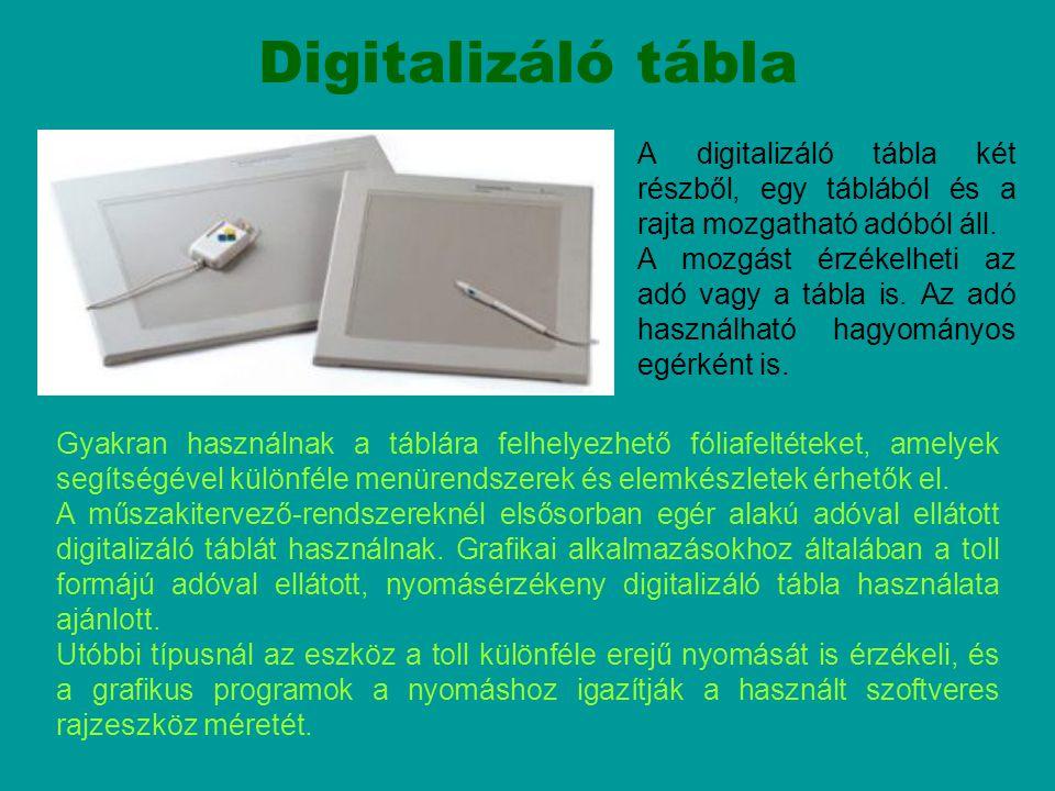 Digitalizáló tábla A digitalizáló tábla két részből, egy táblából és a rajta mozgatható adóból áll.