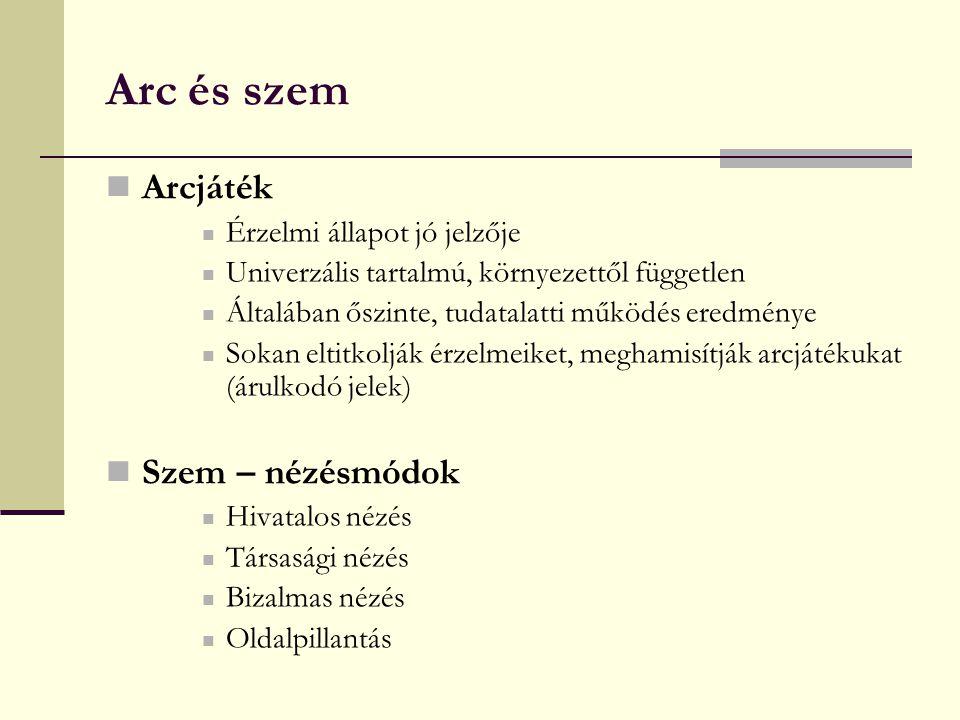 Arc és szem Arcjáték Szem – nézésmódok Érzelmi állapot jó jelzője