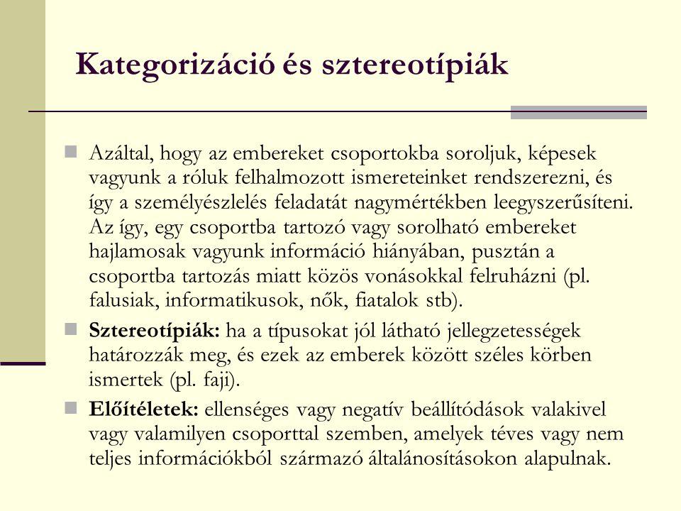 Kategorizáció és sztereotípiák