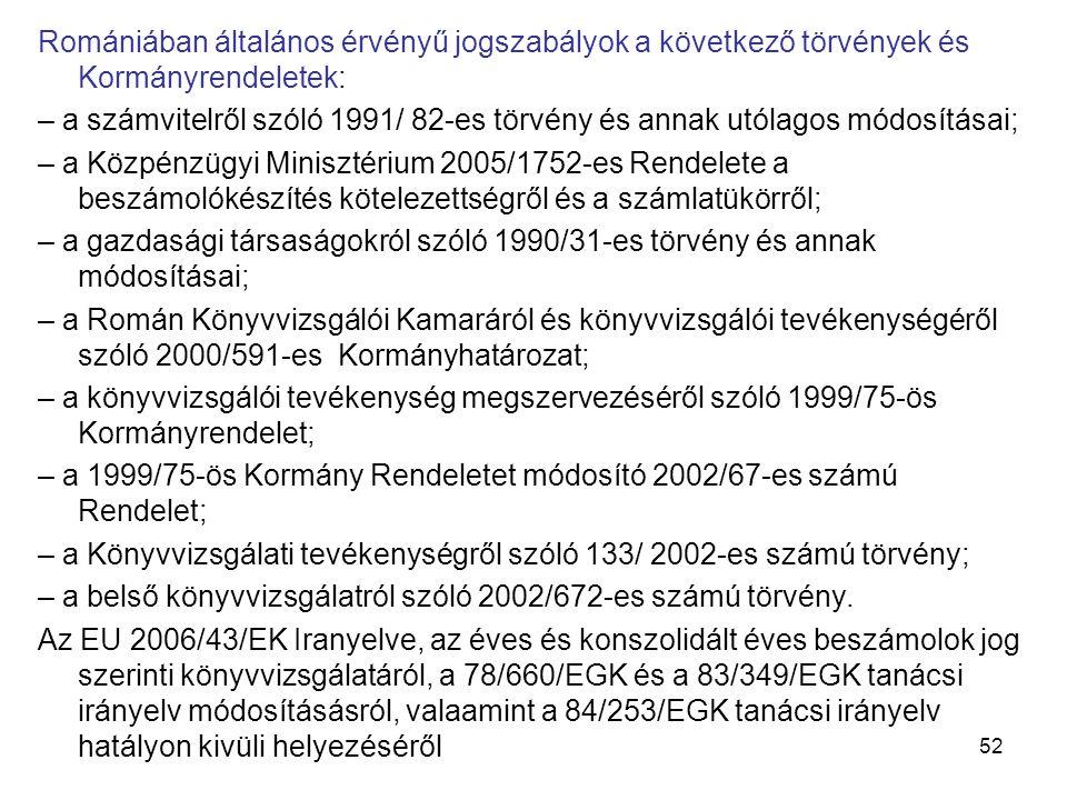Romániában általános érvényű jogszabályok a következő törvények és Kormányrendeletek:
