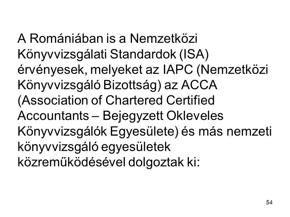 A Romániában is a Nemzetközi Könyvvizsgálati Standardok (ISA) érvényesek, melyeket az IAPC (Nemzetközi Könyvvizsgáló Bizottság) az ACCA (Association of Chartered Certified Accountants – Bejegyzett Okleveles Könyvvizsgálók Egyesülete) és más nemzeti könyvvizsgáló egyesületek közreműködésével dolgoztak ki: