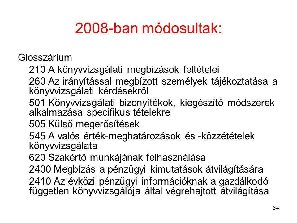 2008-ban módosultak: Glosszárium