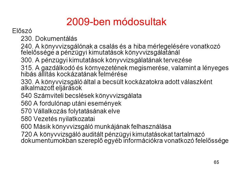 2009-ben módosultak Előszó 230. Dokumentálás
