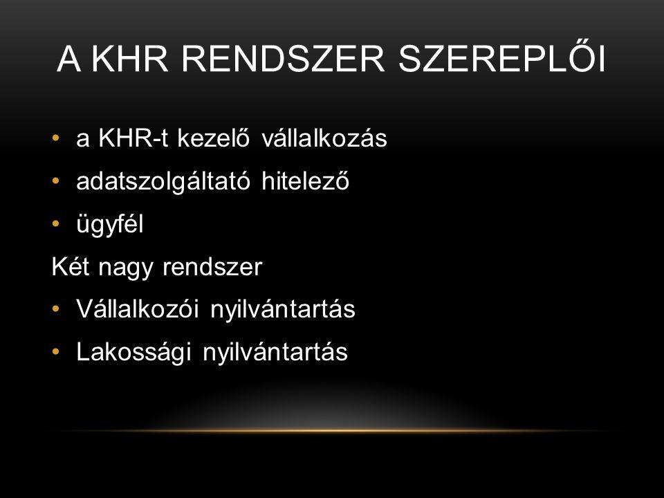 A KHR rendszer szereplői
