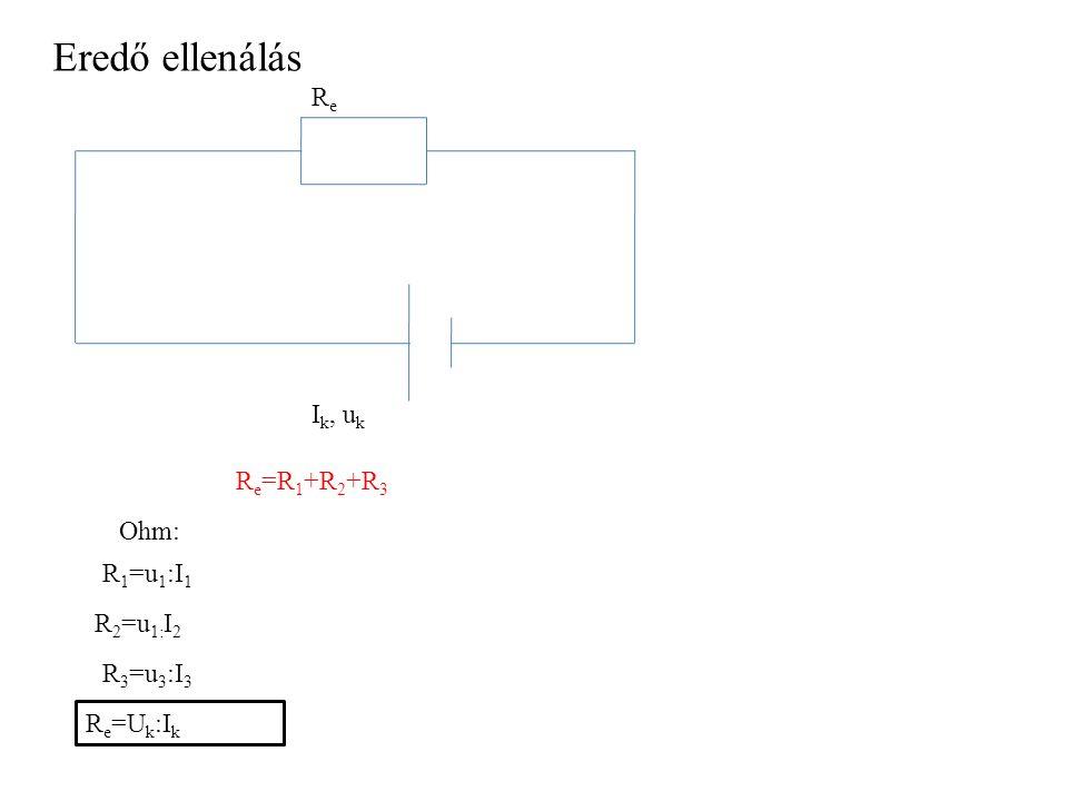 Eredő ellenálás Re Ik, uk Re=R1+R2+R3 Ohm: R1=u1:I1 R2=u1:I2 R3=u3:I3