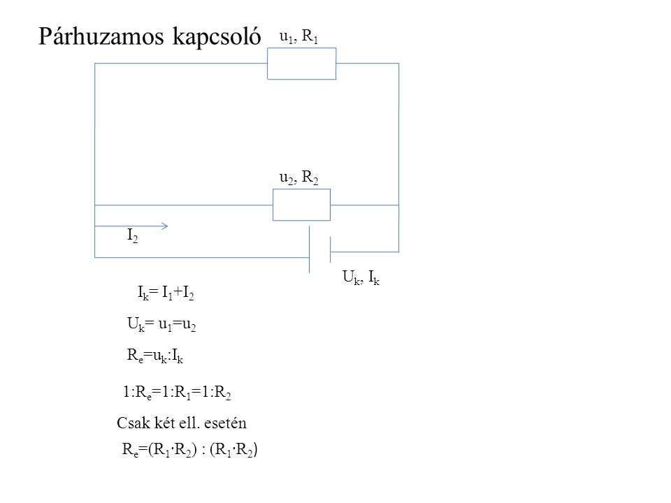 Párhuzamos kapcsoló u1, R1 u2, R2 I2 Uk, Ik Ik= I1+I2 Uk= u1=u2