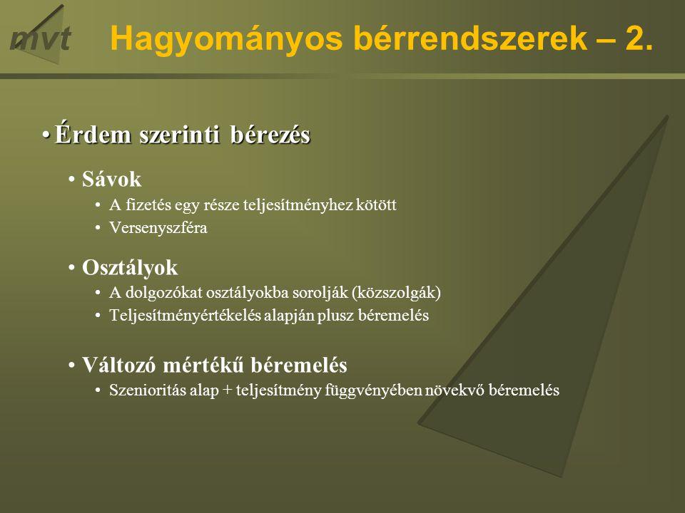 Hagyományos bérrendszerek – 2.